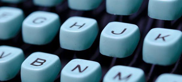 Typewriter Writing / Close-up of a vintage, retro typewriter.